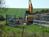 Creating a wetland  part of the drainage scheme, on the Gidding Road Developement, Sawtry.(Laying the sewerage pipes)