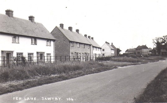 Council houses , just after they were built in Fen Lane, Sawtry.