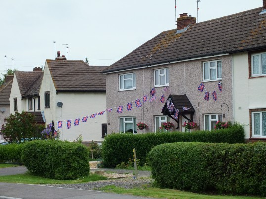 Diamond Jubilee decorated buildings in Sawtry.