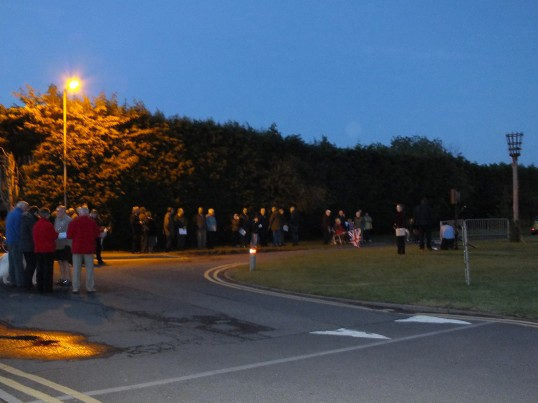 Queens Diamond Jubilee, lighting of the Beacon, Sawtry. (Gathering together before the lighting)