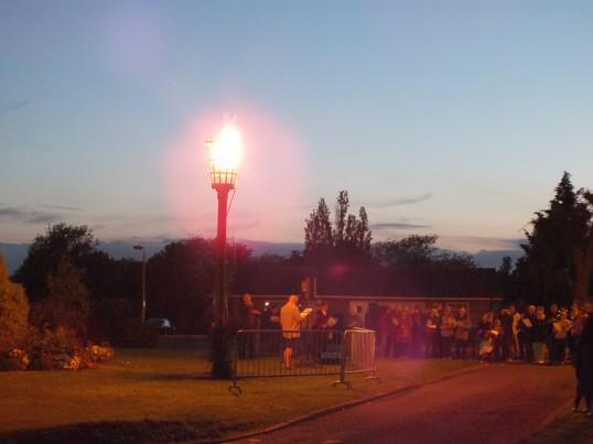 Queens Diamond Jubilee, lighting of the Beacon, Sawtry. (Singing around the Beacon)