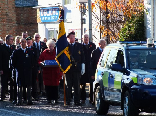 Remembrance Sunday, Sawtry. (Getting ready for the Parade).