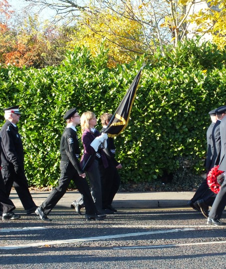 Remembrance Sunday, Sawtry. (Parade is on it's way.)