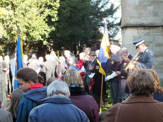 Remembrance Sunday, Sawtry. (Gathering round the War Memorial.)