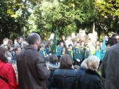 Remembrance Sunday, Sawtry. (Gathering around the War Memorial.)