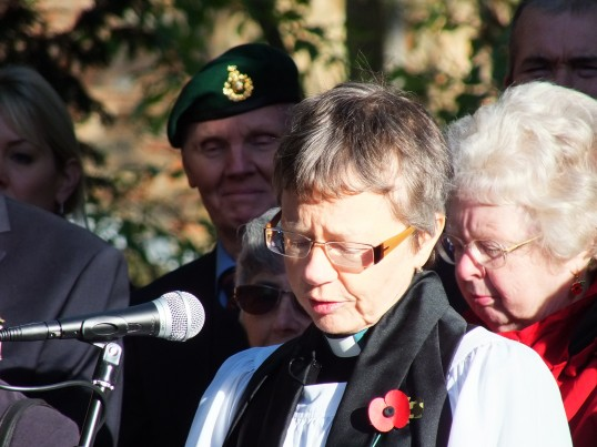 Remembrance Sunday, Sawtry. (The Rev. Rosie Ward taking the service.)