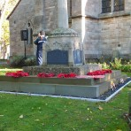 Remembrance Sunday, Sawtry. (The Poppy Wreaves have been laid.)