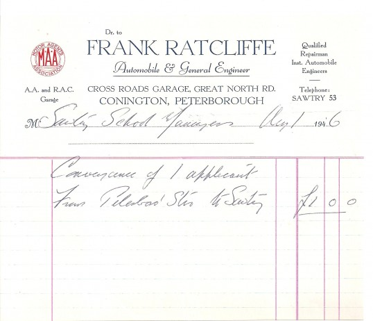 Receipt from Frank Ratcliffe's garage, to Sawtry School.
