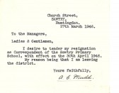 A letter of resignation from Arthur Mudd of Church Street, Sawtry.
