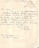A letter of resignation from the Infant Mistress C. Clarke of Church Lane, Sawtry.