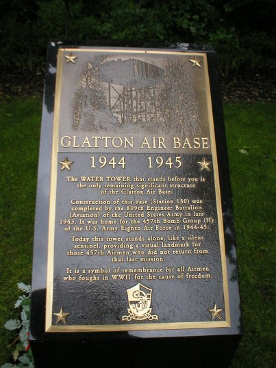 New Memorial Stone at Conington to the 457th Bomb Squadron referring to the Old Water Tower.