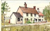 A painting by a local artist of Mr Mudd's Saddlers shop at No.1 Tort Hill, Sawtry.