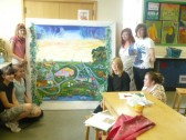 Year 9 students from Sawtry Village College created a mural of the town's history as part of the CCAN project.
