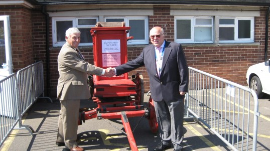 Chairmen Gordon Townsend welcomes Councillor Alexander to the Sawtry History Society Open Day