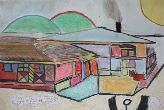 Sawtry Youth Club, CCAN art project - pastel intepretation of Sawtry primary School by Scott Mason & Stuart Henderson
