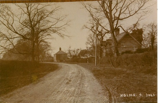 Station Road Holme with the entrance to Short Drive on the bottom right handside.