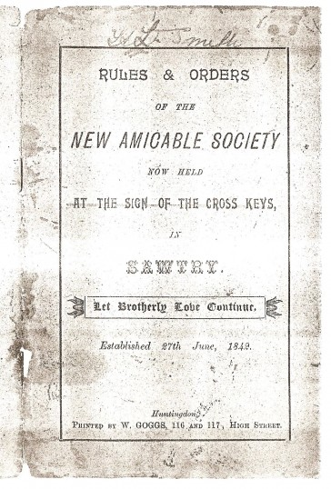 Rule Book for the New Amicable Society at Sawtry. Click 'Text Show' Button.. The New Amicable Society, Sawtry