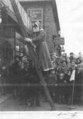 Santa on a ladder outside Waddingtons shop on Churchgate St, Soham. The shop was originally a chapel, now the Viva Centre.