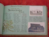 Barway's History page from WI scrapbook, including 1889 list of Sunday School pupils and two photographs.