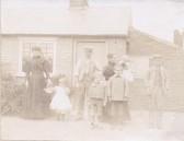 Howe family, Shade windmill, Soham. L-R: Tilly Heath, Maggie, Ephraim (corn & grist miller), Frank, Ann, Herbert, Annie and Arthur Howe.