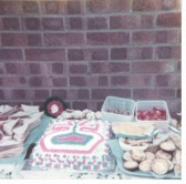 Display of food laid out in the conservatory of Mick and Dianne Bates, 17 Kings Parade, Soham, for Silver Jubilee street party.