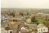 View from church tower, Soham, looking east up White Hart Lane. Building with scaffolding is the Conservative Club being remodelled as flats.