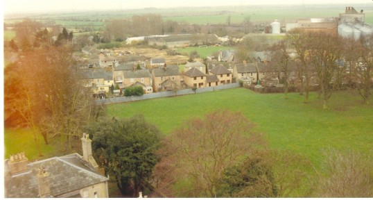 View from church tower, Soham, looking across the rec towards Clay St. Clark and Butcher's mill top right, roof of St. Andrew's House bottom left.