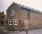 circa 18th century barn on site of 3aTen Bell Lane, Soham, with upper storey and two internal staircases. Now demolished.