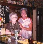 Ruth Harvey (nee Francis) and Doreen Amis (Landlady) in the lounge bar of the Fountain pub, Soham.