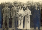 Marriage of Mary Cater to Alfred Ernest Ames, at Soham Primitive Methodist chapel. Also Hilda Ames, 'Nick' Carter and Bob Ames.