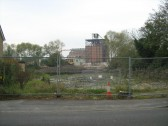 Demolition of Clark and Butcher's Lion Mills, Soham, seen from Clay St.