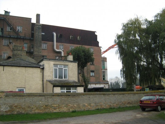 Demolition work at Clark and Butcher's mill at Soham, seen from Angle Common.