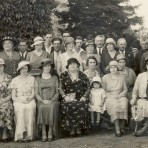 Red Cross Fete, Old Fordy Farm,Barway, nr. Soham. Home of Mr and Mrs Markham. Centre front row Mrs Daniels, Red Cross rep. See text for names.