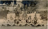 Soham C of E Girls' School, on Clay St. 1948. Dorothy O'Dell (nee Long) front row left, Angela Randall front rt.. Classmates of Soham C of E Girls School 1948 compiles by Dorothy Long (now O'Dell)