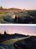 Two views of construction of the road to Triangle farm, Soham, across Angle Common.