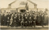 Members of Soham Royal British Legion gather in front of the church hall.