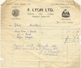 Bill for electrical goods issued by P. Lyon of Soham.