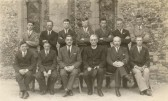 Probably Soham's team of bell ringers, outside St. Andrews church. Doug Nicholls 4th from left, back row.