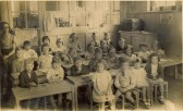 Miss Lawrence and her class at Soham Fen School, now a private house. There were two classes. See text for names.. Naming the faces at Soham Fen School 1940
