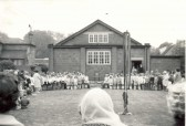 Soham C of E Juniors at church fete in Soham, outside the rear of the Church Hall.