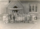 Children from the Shade, Qua Fen Common and Townsend - Coronation tea party at Shade School, Soham. See text for some names.. Coronation Party