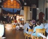 'The Pied Piper' in the hall at St. Andrew's school in Clay St. Soham, before the move to the current building.