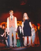 Alan Frew as Ernst Ludwig and Kirsty Pryke as Fraulein Kost in Soham Village College's production of 'Cabaret'.