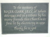 Soham St. Andrew's - plaque to Roger Clark