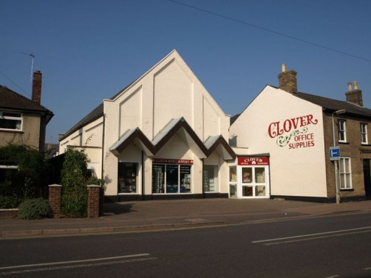 Clover Office Supplies in St Neots in September 2008, formerly Trueform Shoes factory. Built as St Neots Gospel Hall in 1867.