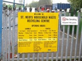 The information sign for the St Neots waste disposal and recycling centre at Huntingdon Street in September 2008