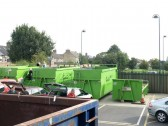 Public Amenities Site in St Neots in September 2008 - view east showing the garden waste recycling skips and the recreation ground behind.