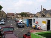 Public Amenities Site in Huntingdon Street, St Neots in September 2008. View from garden waste area, shows site offices to the right and the exit road.