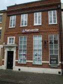 Nationwide Building Society, Market Square, St Neots, in November 2008, formerly Barclays Bank with a 'B' above the door