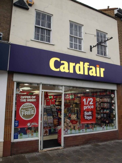 Cardfair Cardshop, St Neots Market Square, in November 2008, once a butchers shop
